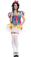 Anime Costumes Cotton Short Wholesale-2016 New Adult Womens Cute Halloween Party Snow White Costumes Outfit Fancy Queen Cosplay Dresses