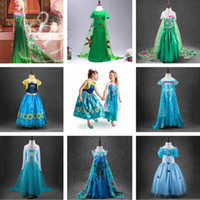 Wholesale Wholesale Clothing Long Skirts Dresses - 2016 New Frozen dress costumes long sleeve skirt Princess Elsa party wear clothing for Halloween Saints'Day frozen Princess dream dress A361