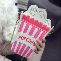 Wholesale Embroidered Candy Bags - Hot fashion personality embroidered letters popcorn shape chain shoulder bag messenger bag ladies handbag clutch purse 5 colors
