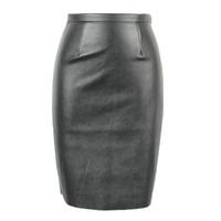 Wholesale Tight Orange Skirt - 2016040301 2016 Spring New Arrival PU Faux Leather High Waist Back Zipper Midi Tight Pencil Casual OL Skirt in Black Orange