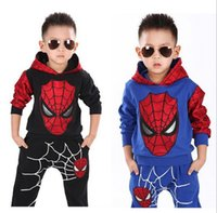 Wholesale Spider Man Suits For Kids - 2pcs set!Spiderman Children Boys Sport Suit 2-8 Years Kids Clothing Set Spider Man Baby Boys Clothes Set Spring winter Tracksuits For Boy