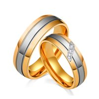Wholesale 14k Gold Couple Rings - Super Hot Titanium Steel Rings Two Tone Plated Luxury Couple Rings 14K Gold Plated Rings For Men & Women YDHR287