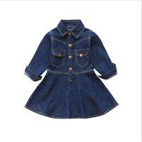 Wholesale Down Lining - Girls Autumn Fashion Slim Classical Casual Denim A-line Dress Kids Cute Turn-down Collar Metallic Buttons Jackets Dress