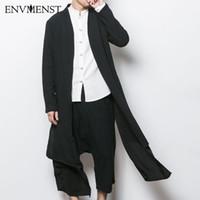ingrosso giacche con cappotti in stile punk-All'ingrosso- 2017 stile cinese uomini giacca trench maschile primavera autunno kimono cardigan cappotto punk moda casual lungo trench outwear