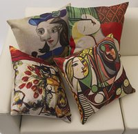 Wholesale Hotel Network - The whole network exclusive leprosy polyester Picasso Paintings Van Gogh Painting Throw Pillow Cushion Case Cover Home pillowcase 42x42CM