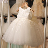 Wholesale Christening Gowns For Toddler Girls - High Quality White First Communion Dresses For Girl Tulle Lace Infant Toddler Pageant Flower Girl Dress for Wedding and Birthday