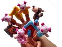 cuento de marionetas al por mayor-8 Unids / set The Three Little Pigs Puppet Finger Educativo para niños Cuento de hadas Juguete Plush Puppet