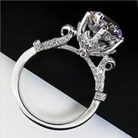 Wholesale woman ring design gemstone - Fashion Women Gift 925 Sterling Silver CZ diamond ring Jewelrys Brand Engagement Wedding Flower Crown Design Level GemStone Rings