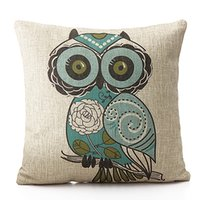 Wholesale New Owl Case - New Home Decorative Throw Pillow Case Vintage Pillowcase Cotton Linen Square Cute Cartoon Owl