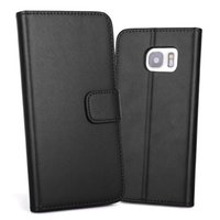Wholesale Galaxy Note Real Leather Case - For Galaxy Note 8 S8 Plus S6 S7 edge Real Genuine Leather Case Flip Leather Case With Stand Wallet Card Slots Holder Cover