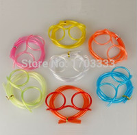 Wholesale funny drinking glasses - 500pcs lot Novelty items Amazing Silly multi-colors Glasses Funny Drinking Straw glasses Frames for party favor Wholesale