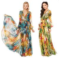 Wholesale Kimono Hot Dress - New Hot Good Selling Women Casual Fashion Summer Elegant Chiffon V-neck Flower Print Long Dress 2528