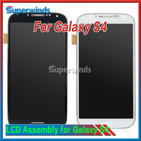 Wholesale S3 Display Screens - Samsung Galaxy S4 i9500 9505 I545 I337 White and blue LCD Display Touch Screen Digitizer Assembly with Frame Free DHL