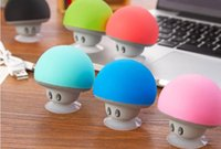 Wholesale Center Cup - Christmas Mini Mushroom Speakers Cell Phone Holder Subwoofers Bluetooth Wireless Speaker For cell phone Silicone Suction Cup Tablet PC Stand