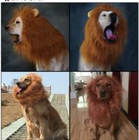 perucas para cães venda por atacado-Moda New Hair Ornaments Pet Costume Cat Halloween Roupas Fancy Dress Up Leão Juba Peruca para Cães Grandes