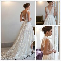 Wholesale Vestidos Novia Short - Vestidos de Novia Vintage High Low Wedding Dresses Short Front Long Back Sheer Lace Wedding Dress Backless Bridal Gowns Chapel Train Kleider