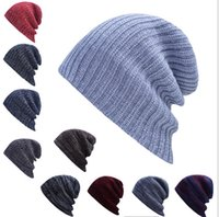Wholesale Wholesale Wool Skully Hats - Wholesale 5pcs lot 10colors Candy Winter Trendy Warm Hat Simple Style Chunky Soft Stretch Cable Men Knitted Beanie Hat Beanie Skully Hats