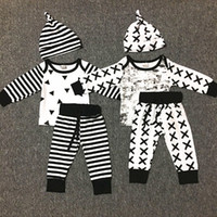 Wholesale 2t romper boys suit resale online - 2017 Newborn Baby Boys Christmas Outfits Sets Infant geometric patterns striped print romper long pants hat suits Kids Clothing