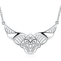 Wholesale Invisible Wings Pendant - Classic invisible wings pendant necklace hollow out heart elegant necklace for women silver plated chain free shipping