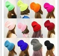 Wholesale Neon Beanie Men - Knitted Neon Women Beanie Girls Autumn Fluorescent Casual Lovers Cap Women Warm Winter Hat for Unisex Men Warm Winter Personality Candy Hats