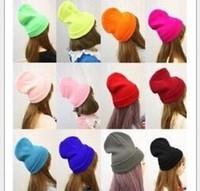 sombreros de punto de neón al por mayor-Las mujeres de neón de punto Beanie Girls otoño amantes casuales fluorescentes casquillo Mujeres Winter Hat para hombres unisex calientes de la personalidad de invierno dulces sombreros