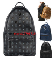 Wholesale Leather Backpack Satchel Korean - 2018 Top Quality korean PVC leather backpack for Men Women sprots school backpack bags Punk Rivets backpacks Middle Small Size spree worthy