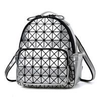 Wholesale Diamond Backpack - 2017 New Women Laser Backpack Diamond Lattice Shoulder Bag Geometry Quilted Pearl Daypacks for Teenagers girl Mochila Feminina