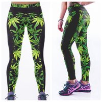 Wholesale One Leaf - Tight Leggings High Waist Breathable Slim Yoga Pants Quick Dry Fashion Women Long Trousers Sports Fitness Green Leaf Elastic Capris LNASlgs