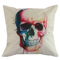 Wholesale Wholesale Cushions Skull - Wholesale-Hot Sale Free Shipping 1pc Multi-pattern Linen Cotton Polyster Skull Bolster Cushion Pillow Cover Bag with good quality