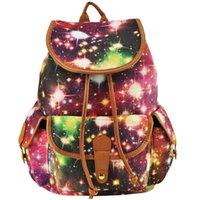 Wholesale Ladies Sport Backpack - Stars Print Woman Backpack Canvas Lady School Bag Casual Sport Travel Outdoor Preppy Cute String Bags High Capacity Flap Pocket SY0415