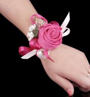 Wholesale corsages for bridesmaids - Wedding Corsage Hand flower Red Silk Corsages In Stock Cheap Wedding Bouquets Wrist Flowers For Bridesmaid Girls Wholesale