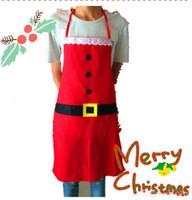 rote küchenschürzen großhandel-Weihnachtsmann-Weihnachtsküchen-Schutzblech Burton - roter Samt mit Pelz Bell Gute Qualität nagelneue heiße Verkäufe