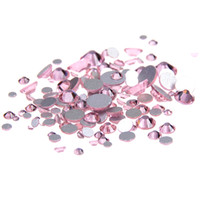 Wholesale hotfix rhinestone rose - Light rose Non Hotfix Crystal Rhinestones SS3-SS10 And Mixed Sizes Glue On Glass Chaton DIY Backpack Clothes Bag Shoes Supplies