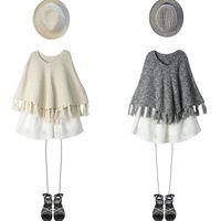Wholesale Bp American - Children shawl BP style autumn cotton knitting tassel girls sweater poncho round collar kids cape princess clothing child shawl A9307