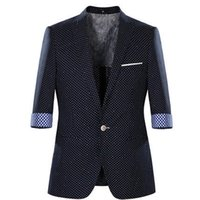 Wholesale Half Mens Suit - Wholesale-2016 Autumn Men's Polka Dot Half Sleeve Causal Blazers Coat Fashion Mens Single Button Suits Coat Male Casual Outwear H4023