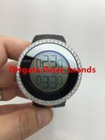 Wholesale Diamond Digital Led Watch - Top quality digital led display brand g wristwatch diamonds case rubber strap watch fashion men's watches water resistant full works