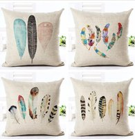 Wholesale throw pillows feather print - Feather Style 45*45cm Square Home Decorative Pillow Music Note Printed Throw Pillows Car Home Decor Cushion Cojines