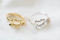 Wholesale Small Mail Packages - Wedding gift jewelry in 2016 small wholesale gold-plated heart antique accessories lovely joint ring free package mail holiday best gift