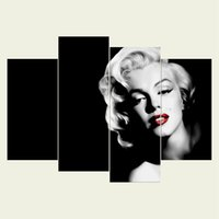 Wholesale marilyn monroe oil canvas - (No frame) Marilyn Monroe series HD Canvas print 4 pcs Wall Art Oil Painting Textured Abstract Pictures Decor Living Room Decoration