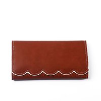 Wholesale Free Shipping Money Wallet - PU Faux Leather Women Long Wallets Good Quality Light Brown Mint Color Money Holder Scalloped Purses Free Shipping to US DOM103389