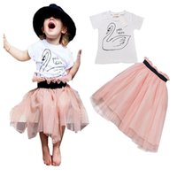 Wholesale Little Girls White Cotton Dresses - INS Little Swan baby girls dress sets Flamingo short sleeve white T-shirt top+pink tutu skirts two-piece suit kids outfits princess dress