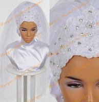 ingrosso vera immagine del velo-2016 Hijab da sposa con cristalli Strass e applicazioni in pizzo Dettagli Immagini reali Perle bianche velate da sposa musulmane Custom Made