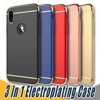 Wholesale Clear Plastic Casing - 3 in 1 Matte Frosted Electroplating Armor Case Removable Hard PC Back Cover Cases For iPhone X 8 7 6 6S PLus Samsung S8 S9 Plus S7 Edge