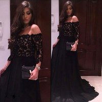 Wholesale Three Quarter Prom Dresses - Sexy Off The Shoulder Black Lace Prom Dresses 2017 Three Quarter Sleeves Long Evening Party Dress Formal Gowns vestido de festa
