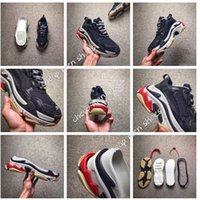 Wholesale New Arrival Men S Shoes - 2017 New Arrival High Quality Unveils New Triple S Sneakers Fashion Spec Trainers Women Men Tripe-S retro Training Sneakers Shoes size 36-45