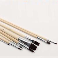 Wholesale Wholesale Artist Oil Paints - Durable 8Pcs Set Nylon Hair Artist Watercolour Acrylic Oil Painting Paint Brush Set Supply Painting Brush Wood Handle