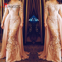 Wholesale New Pink Lace Evening Dresses Detachable D Appliques illusion Jewel Neck Long Sleeves Prom Dress Formal Gowns