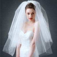Wholesale Double Veils - Double Layers Hand Length Veils Custom Made Top Quality Romantic Wedding Veils Simple Ruched Bridal Hair Accessories Veil Free Shipping