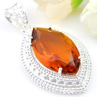 Wholesale Russia Silver - 10 Pcs 1 lot Lucky Shine Jewelry Superb Fire Brazil Citrine Crystal 925 Sterling Silver Russia American Australia Wedding Pendants Necklaces