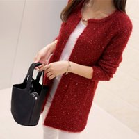 Wholesale Glitter Sweater - Wholesale- 2017 new arrivals Fashion Pocket glitter Pattern Cardigans Female Sweaters Long Sleeve Knitted Slim Women Sweater Cardigan